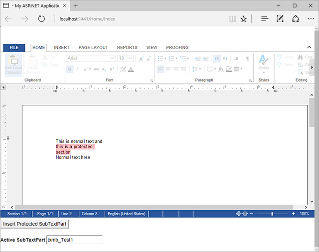 ASP.NET MVC: Adding protected sections to documents
