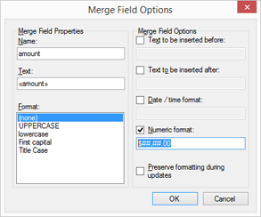 MailMerge: Formatting strings in merge fields