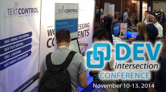 Text Control sponsors DevIntersection 2014 in Las Vegas, NV