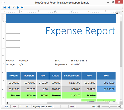 Sample project: Text Control Reporting