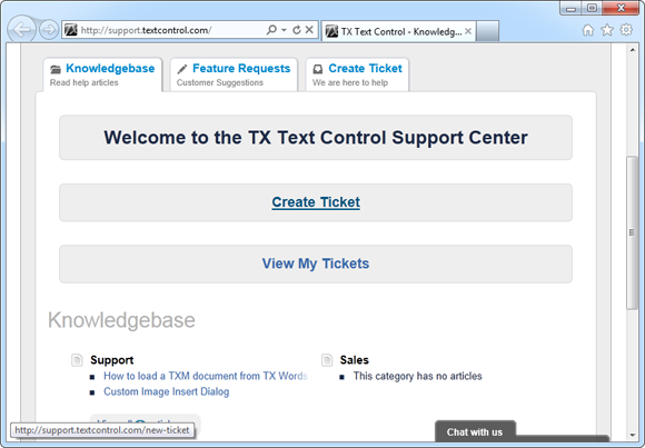 New TX Text Control Support Center Released