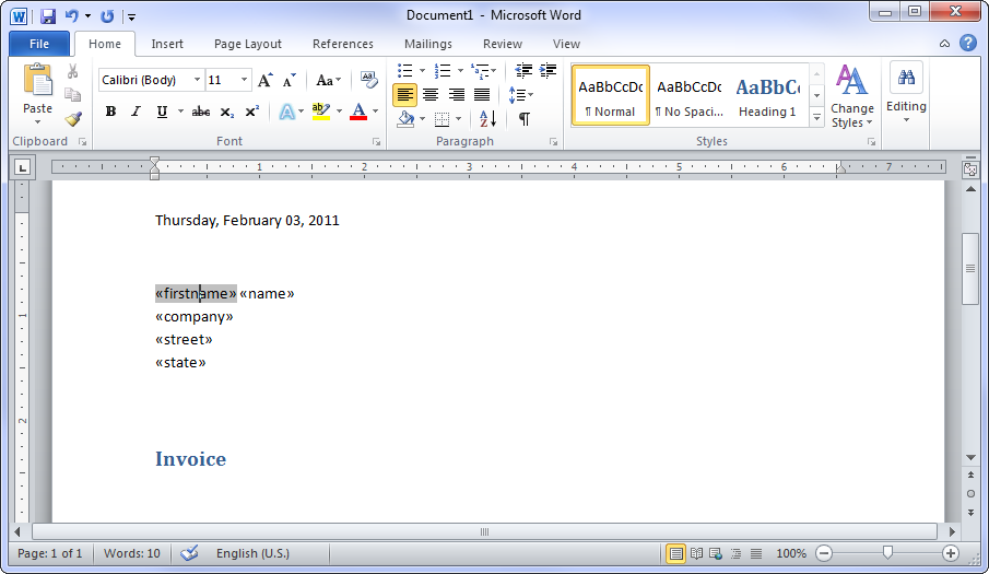 Creating mail merge templates in ms word 2010 added merge fields in template spiritdancerdesigns Choice Image