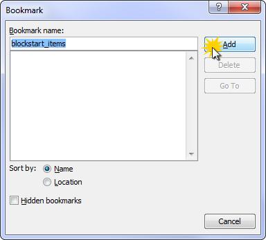 Adjusting the bookmark name