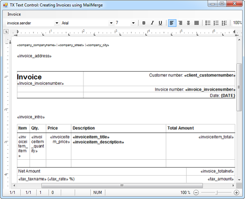 Creating Invoices using MailMerge