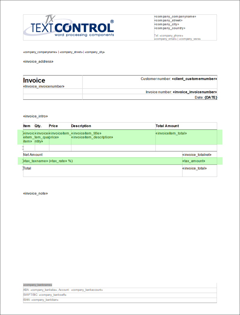 ready to use template creating invoices using tx text control