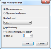 Page number dialog
