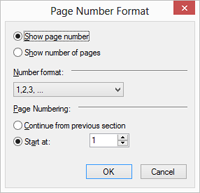 TX Text Control page number dialog