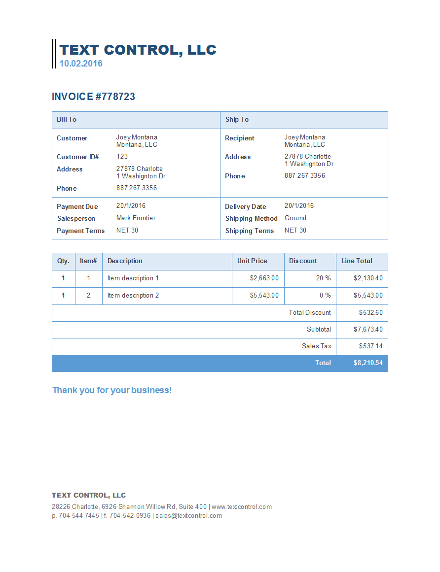 Text Control invoice template