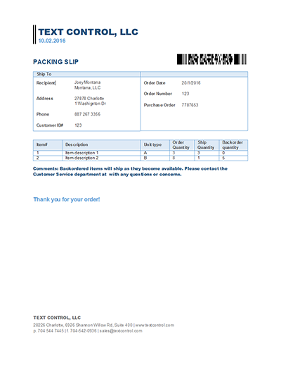 Text Control packing slip template