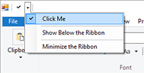 Adding elements to the Ribbon QuickAccessToolbar