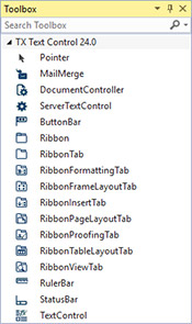 Visual Studio toolbox TX Text Control X14