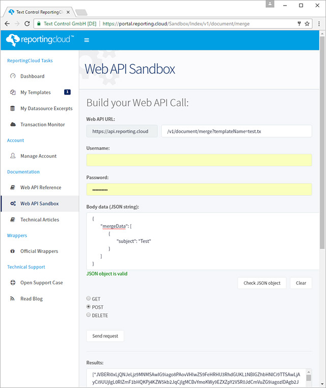 Web API Test Sandbox released on ReportingCloud Portal
