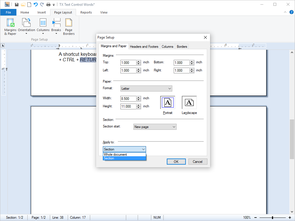 Page and Document Settings