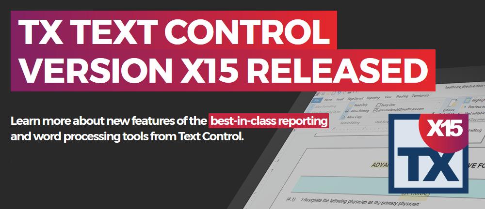 TX Text Control X15