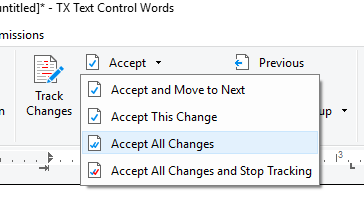 Track Changes ribbon interface