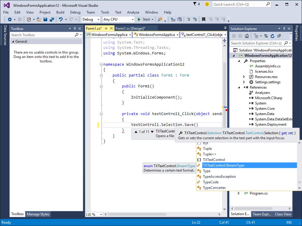 Microsoft C# .NET (VS 2010, 2012, 2013, 2015, 2017)