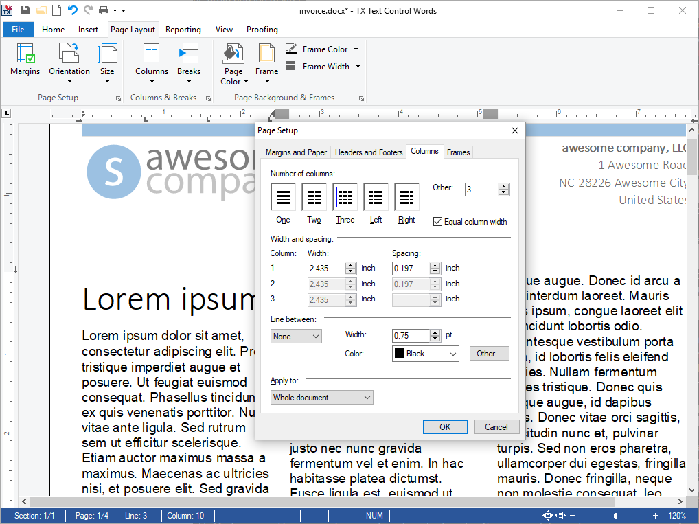 Add Page Columns to your Documents