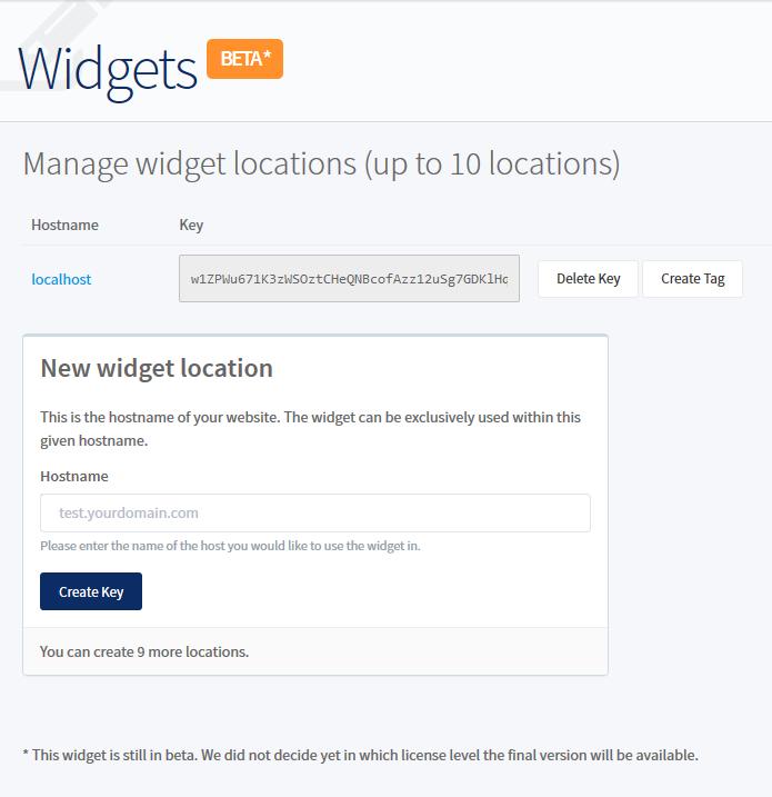 Manage Widgets