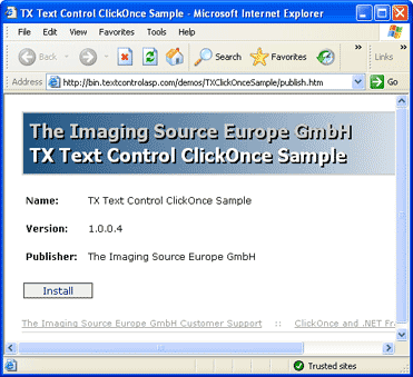 TX Text Control .NET for Windows Forms ClickOnce Deployment