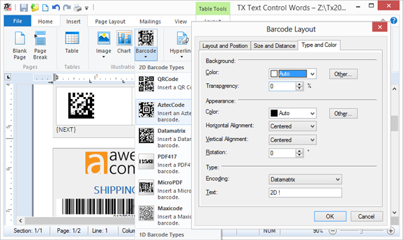 New 1D and 2D Barcode Types