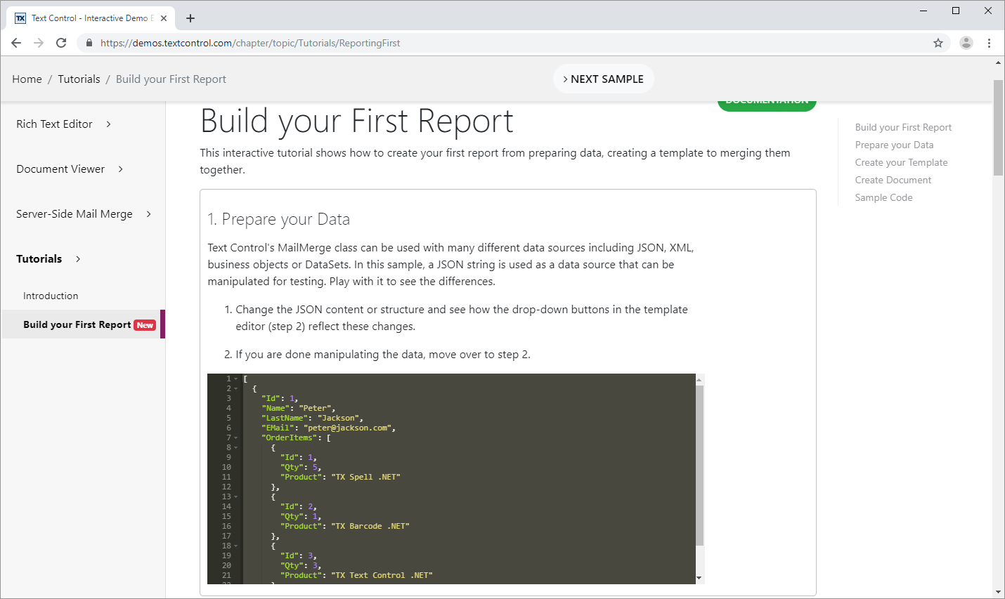 New Online Sample: Build your First Report