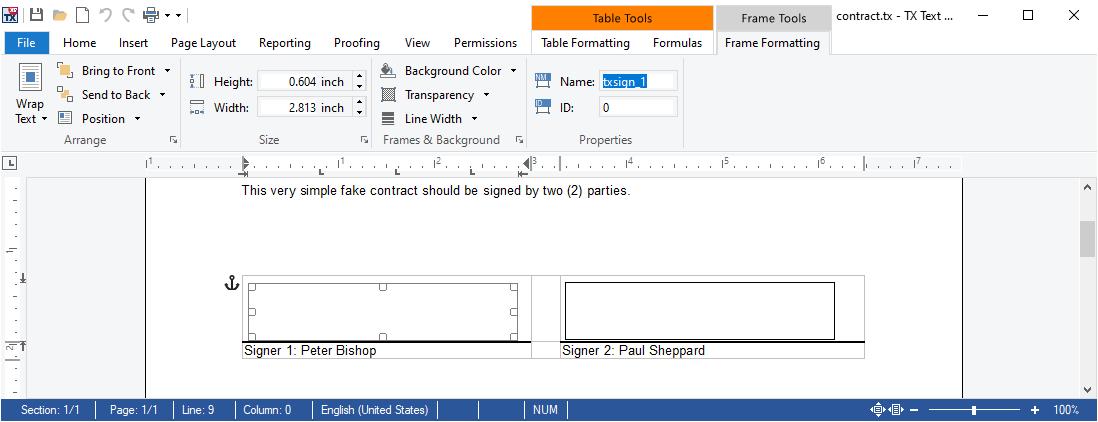 Adding signature frames
