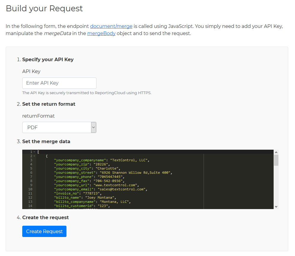 Build your request