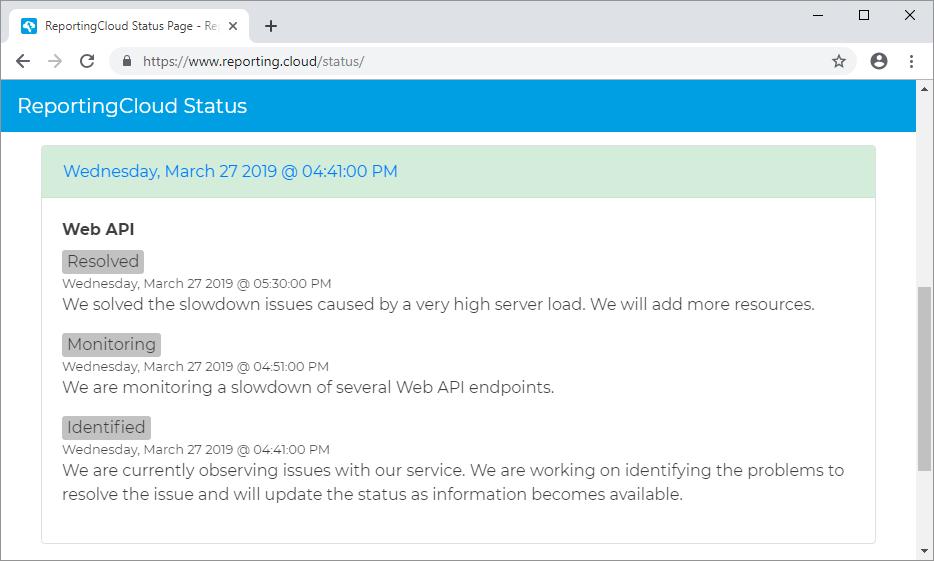 ReportingCloud API Status