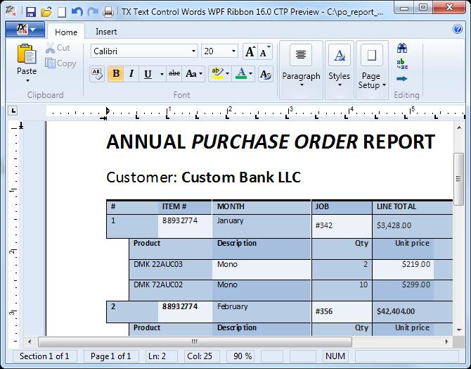 Master-Detail Sample Document