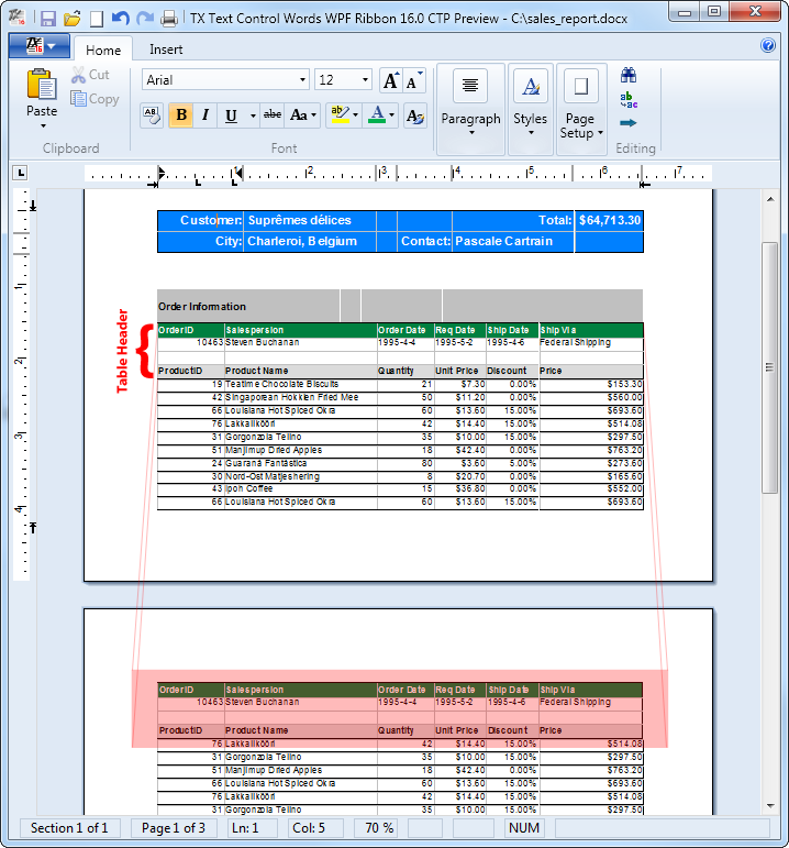 TX Text Control Table Header