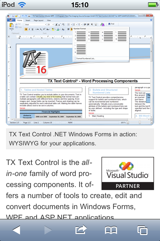 TX Text Control mobile web site products overview page