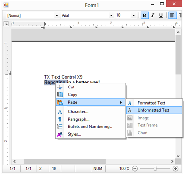 TX Text Control X9 in Visual Studio