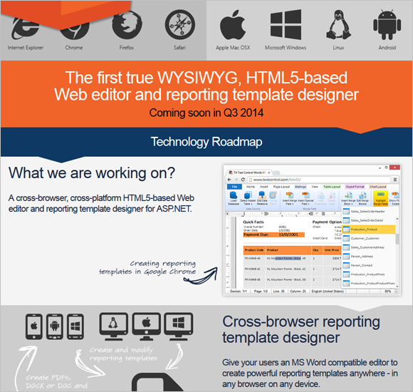 Text Control announces HTML5-based, cross-browser reporting