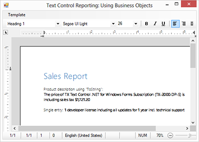 Advantages of using business objects with Text Control Reporting