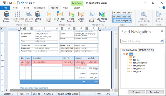 Easy-to-use sample templates with sample XML data files