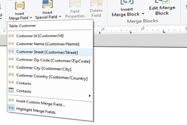 Windows Forms Ribbon: Displaying User-Friendly Merge Field Names