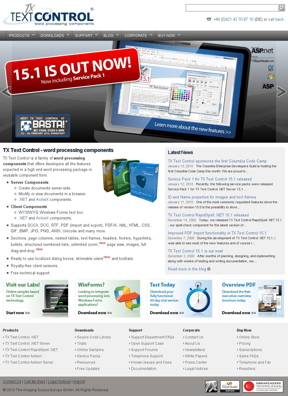New TX Text Control Web Site