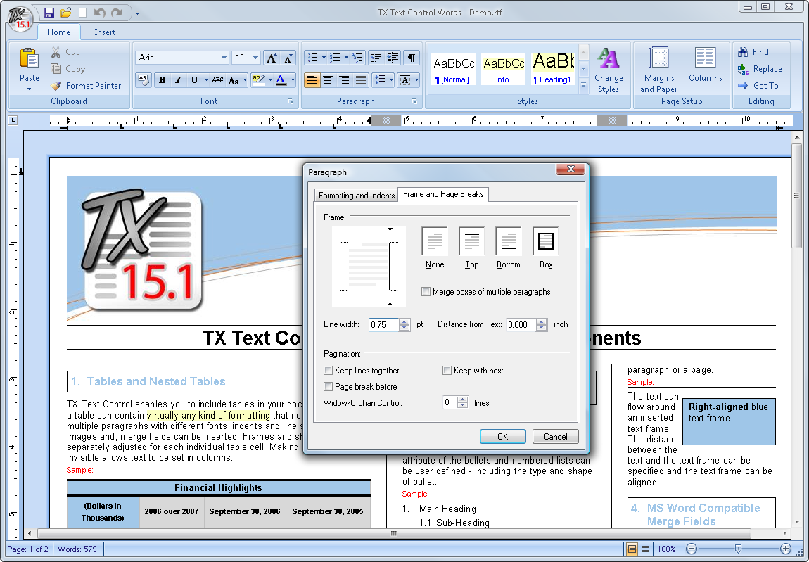 TX Text Control .NET for Windows Forms with the Infragistics ribbon bar