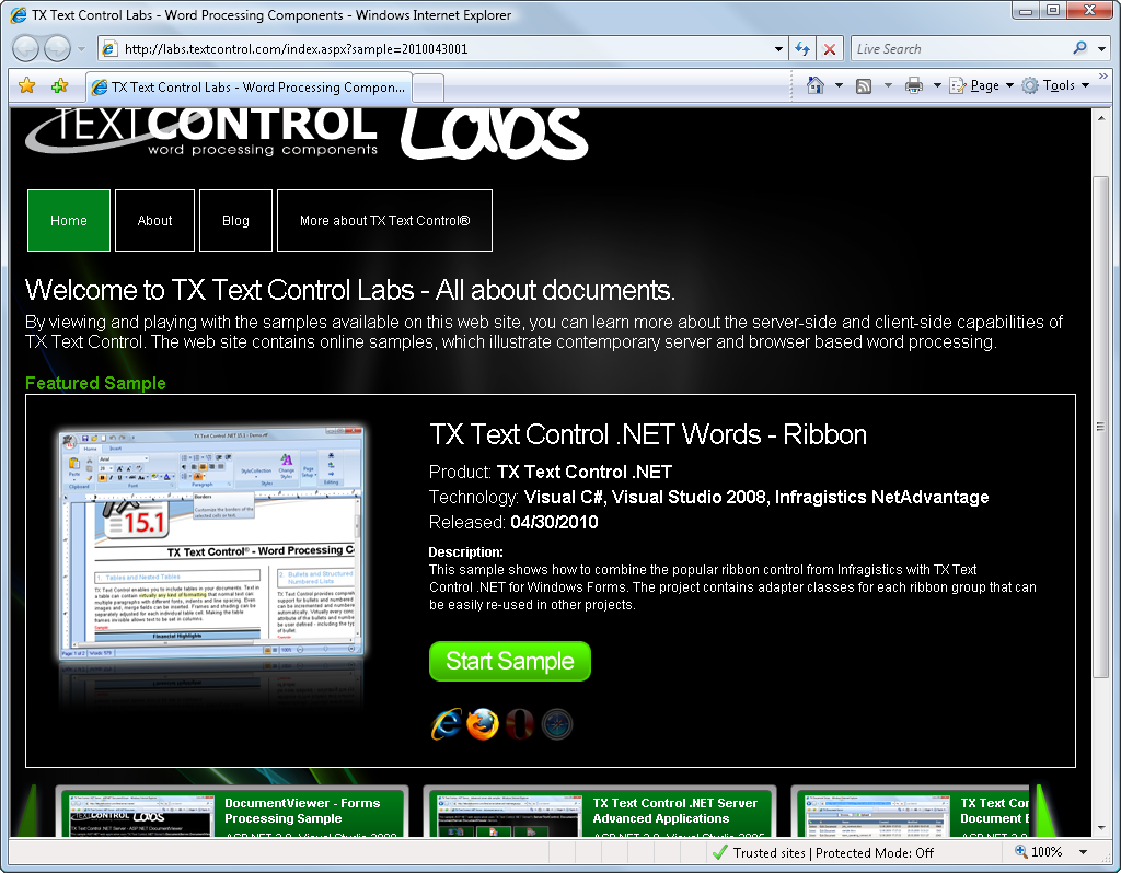 TX Text Control / Infragistics ribbon sample