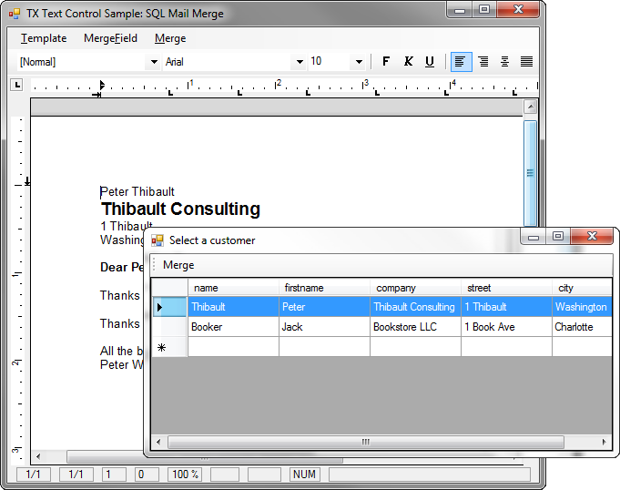TX Text Control Mail Merge with MS SQL Server