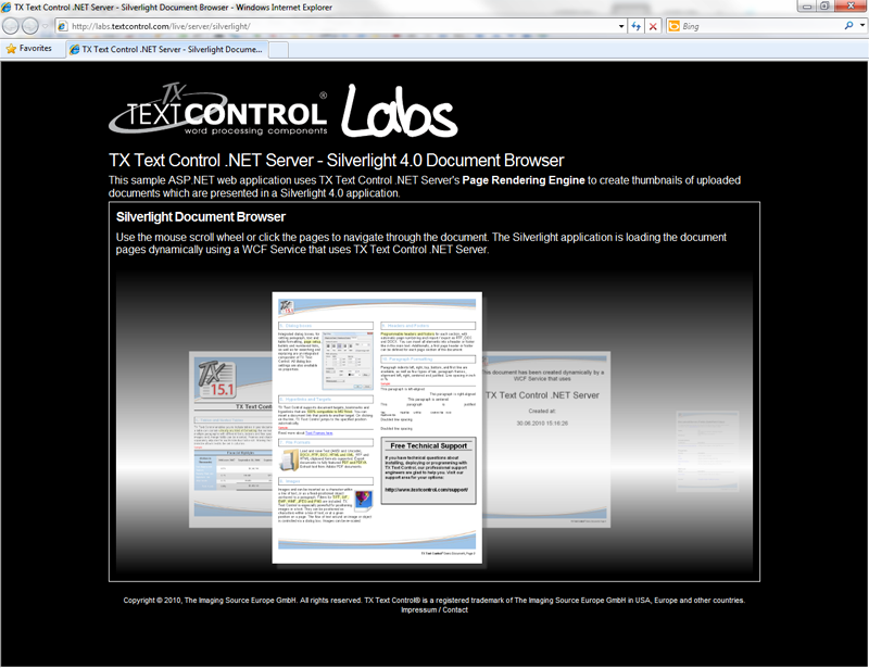 TX Text Control Server for ASP.NET (incl. Windows Forms) in a Silverlight application