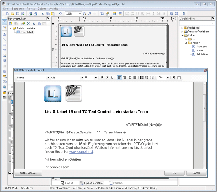 List & Label's TX Text Control .NET for Windows Forms Integration