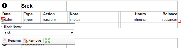 TX Text Control nested blocks
