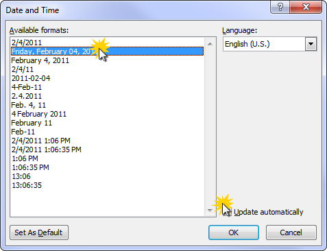 Select the date format