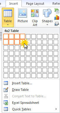 Adding a table