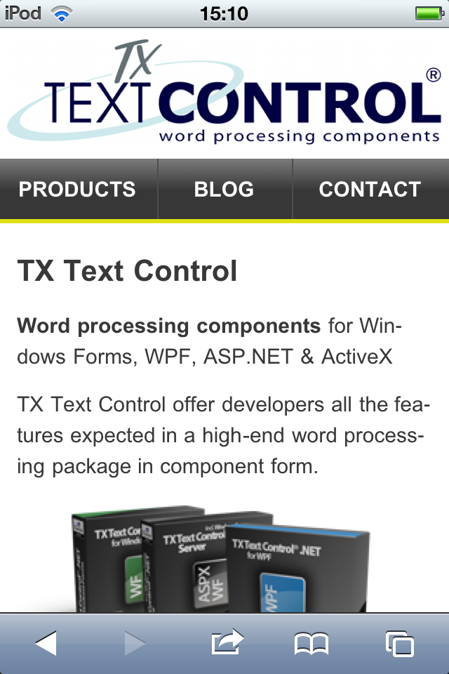 TX Text Control mobile web site start page