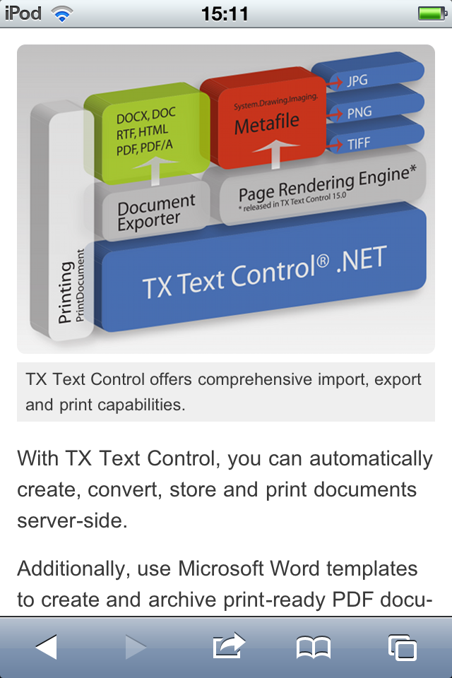 TX Text Control mobile web site document automation page