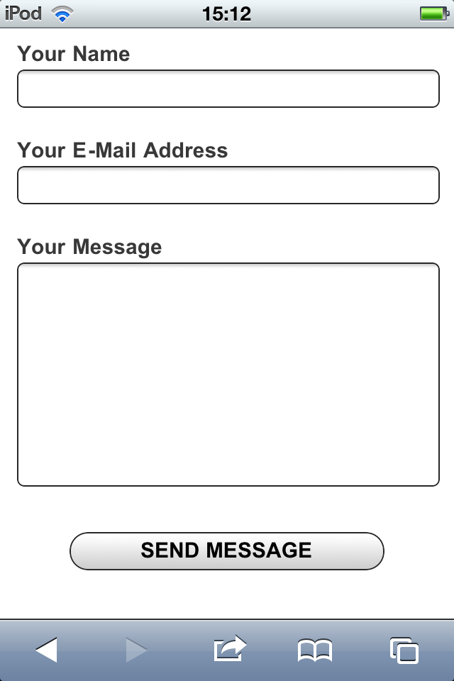 TX Text Control mobile web site contact form