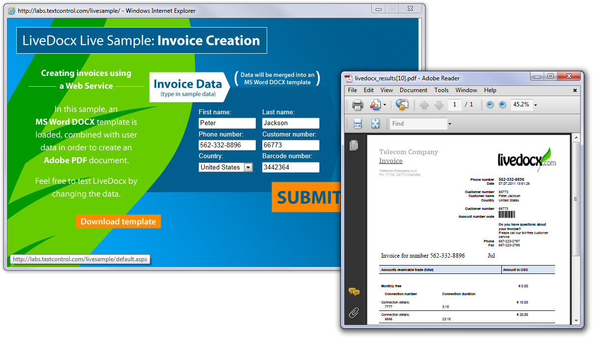 LiveDocx - Creating invoices with a Web Service