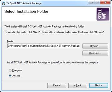 TX Spell .NET ActiveX Package installation